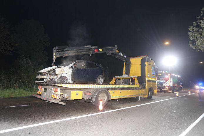 Auto verwoest in Boxtel