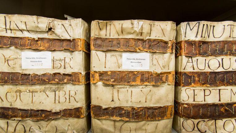 Notariële akten uit de 17de eeuw in het Stadsarchief. Beeld René den Engelsman