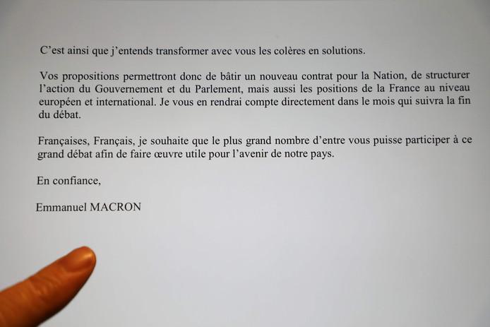 Een passage uit de brief die Macron zondag stuurde aan de Franse bevolking.