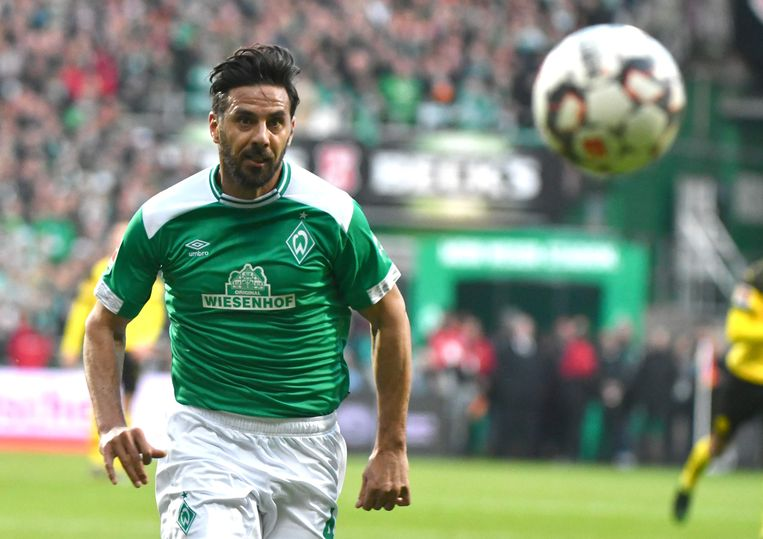 Bremen's Peruvian forward Claudio Pizarro plays the ball during the German first division Bundesliga football match Werder Bremen v BVB Borussia Dortmund in Bremen, northern Germany on May 4, 2019. (Photo by PATRIK STOLLARZ / AFP) / RESTRICTIONS: DFL REGULATIONS PROHIBIT ANY USE OF PHOTOGRAPHS AS IMAGE SEQUENCES AND/OR QUASI-VIDEO