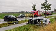 Fransen botsen frontaal tijdens hevige regenbui, twee andere wagens delen in de brokken