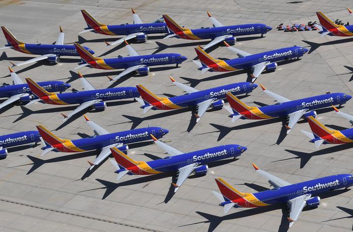 737 Max vliegtuigen van de maatschappij Southwest.