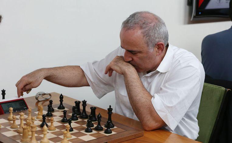 Gari Kasparov tegen Fabiano Curuana in 2017.  Beeld AFP