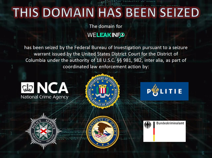 Boodschap van FBI op website