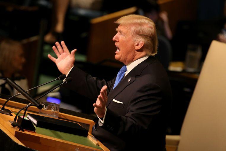 Donald Trump spreekt de Verenigde Naties toe. Beeld EPA