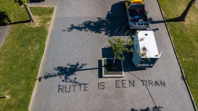 De teksten in Alphen gezien vanuit de lucht.