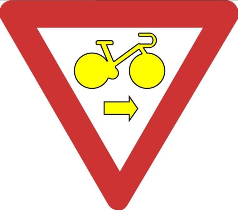 Waar dit bord staat mogen fietsers rechtsaf door rood rijden.
