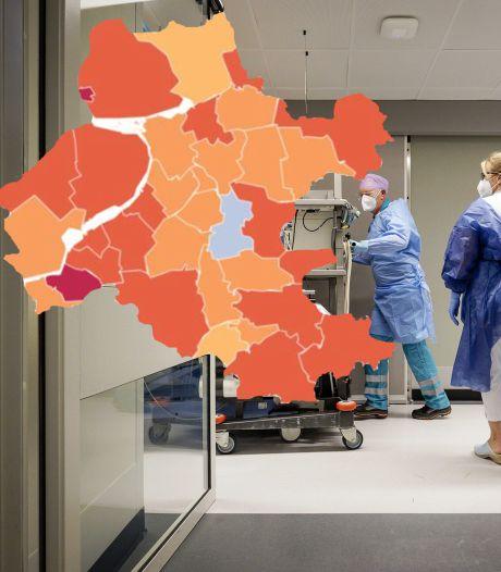 KAART | Wéér geen daling: steeds meer gemeenten in Oost-Nederland kleuren donker op coronakaart