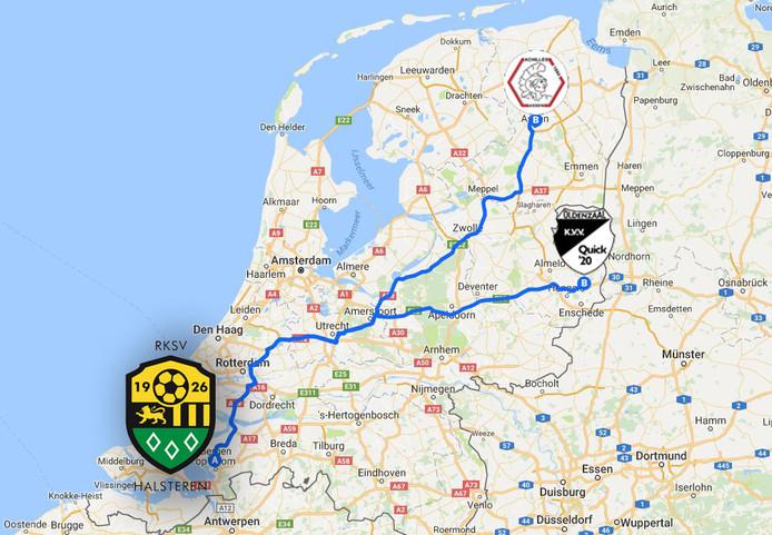 De reizen naar Quick'20 en Achilles 1984 zijn dit seizoen het langst: 250 en 280 kilometer (enkele reis).