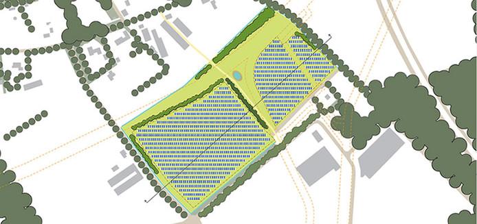 Schets van het zonnepark De Mun.