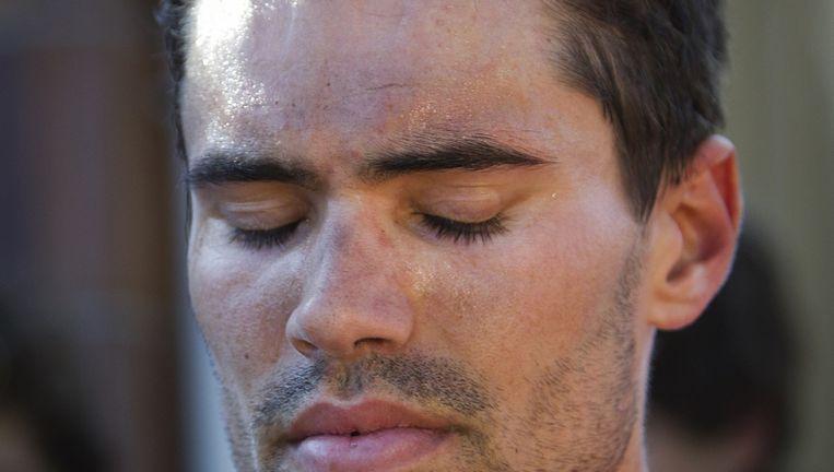 Tom Dumoulin weet zich verslagen. Geen winst in de Vuelta. Beeld AFP