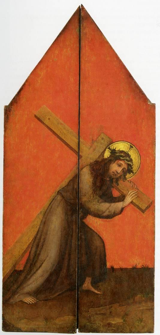 Het drieluik toont, wanneer de luiken gesloten zijn, Christus met een kruis.