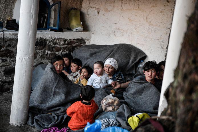 Vluchtelingkinderen in een kamp op Lesbos.