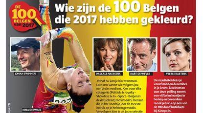 Wie zijn volgens u de 100 Belgen die 2017 hebben gekleurd?