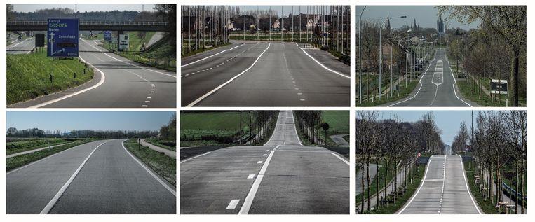 Onze fotograaf kon vandaag een heel verlaten Meenseweg en Zuider- en Noorderring op de gevoelige plaat vastleggen.