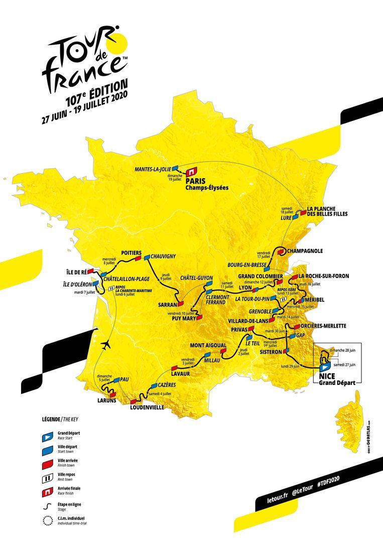 Het parcours van de Tour de France. Vooral veel klimmen. Beeld EPA