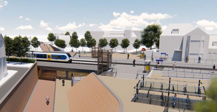 Zo moet het eruit gaan zien in de Rijense spoorzone, met een tunnel in de Julianastraat. Voor de aanleg zou het rijksmonument op nummer 118 moeten wijken.