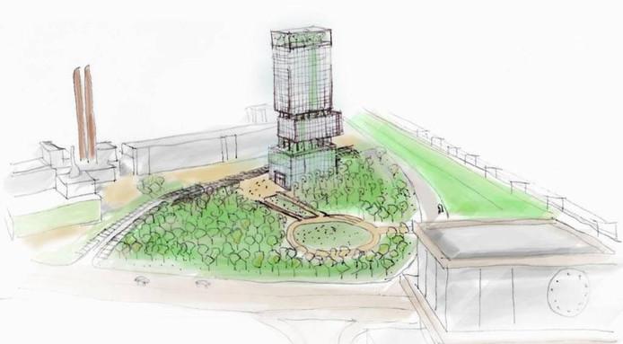 Plan met 'groene' toren, 88 Architect.