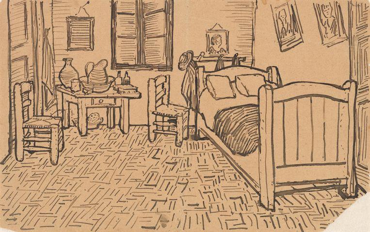 De Slaapkamer, schets meegezonden met brief aan broer Theo. Beeld