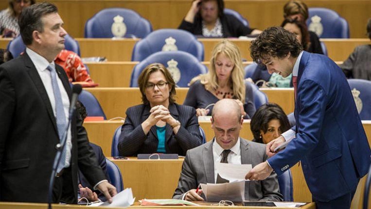 SP-leider Roemer, PvdA-leider Samsom en Jesse Klaver, leider van GroenLinks. Beeld Freek van den Bergh