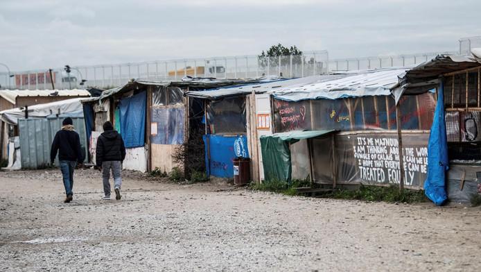 Een van de migrantenkampen in de 'jungle' bij Calais.