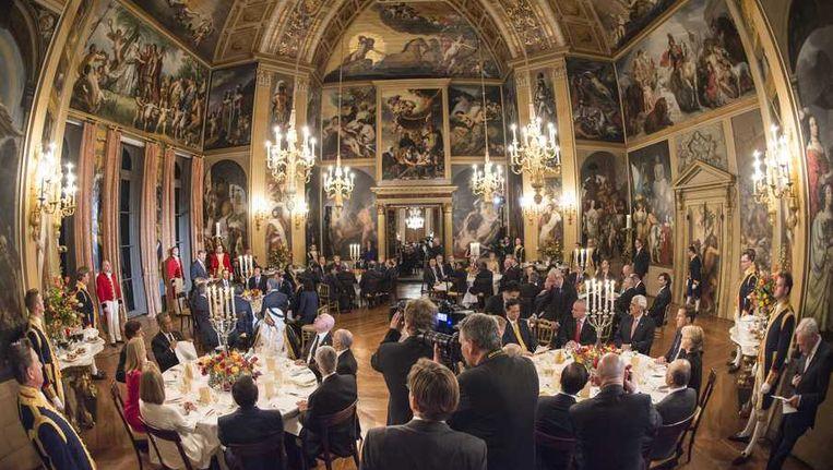 De speech van koning Willem-Alexander op de bijeenkomst van staatshoofden. Beeld anp