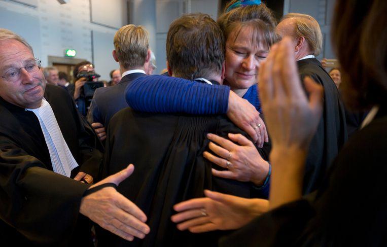 Urgenda-directeur Marjan Minnesma na de uitspraak van het Gerechtshof. Beeld AP