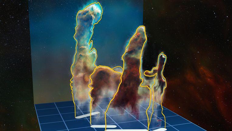 De visualisatie van de driedimensionale structuur van de Pillars of Creation in het stervormingsgebeid Messier 16 (ook wel de Adelaarsnevel genoemd). Beeld ESO/M. Kornmesser