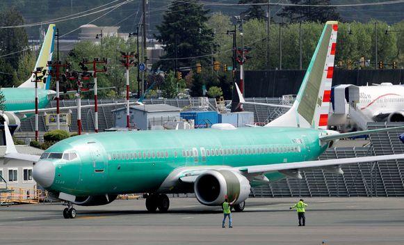 Een Boeing 737 MAX op het terrein van de Boeing-fabriek in Renton, Washington.
