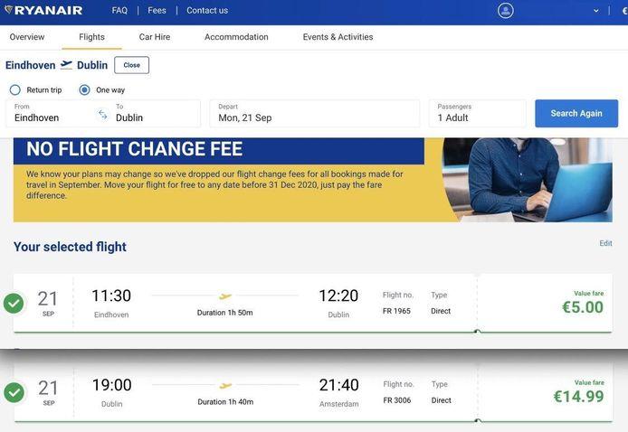 Voor de twee vliegtickets van Eindhoven naar Dublin en van Dublin naar Amsterdam is hij nog geen 20 euro kwijt.