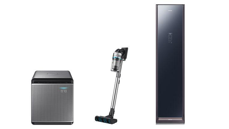 Drie nieuwe huishoudproducten van Samsung, met als belangrijkste het rechtse product: een stomerij voor in huis.