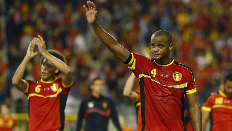 De spelers van België danken het publiek. Beeld reuters