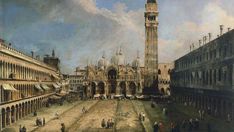 Het San Marco-plein in Venetië geschilderd door Canaletto, 1724. Beeld