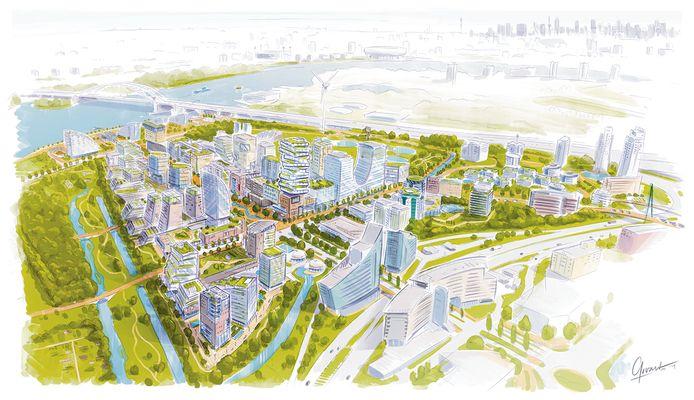 Artist impression van het Nieuwe Rivium, een nieuwe woonwerkwijk langs de Abram van Rijckevorselweg en de A16.