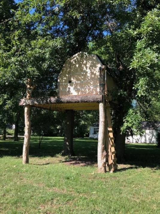 De boomhut in de tuin van Xaviers buren herbergde een groot wespennest