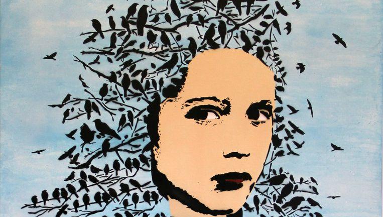 Let her be free, werk op canvas over de hoofddoek. Beeld null