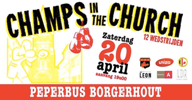 De affiche van het boksgala 'Champs in the Church'.