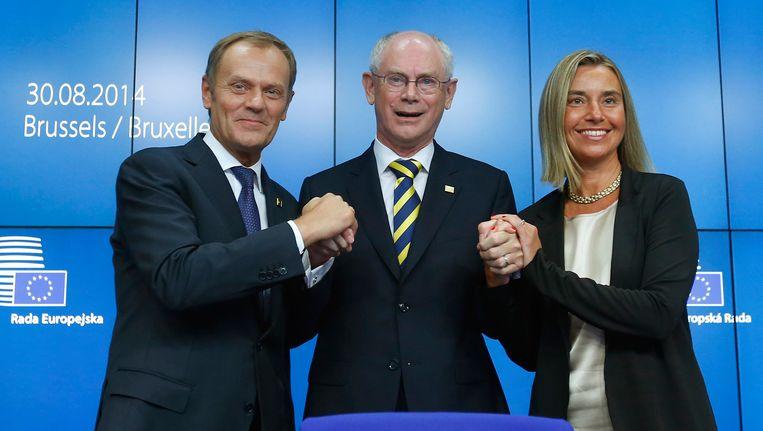 Donald Tusk, Herman Van Rompuy en Federica Mogherini.