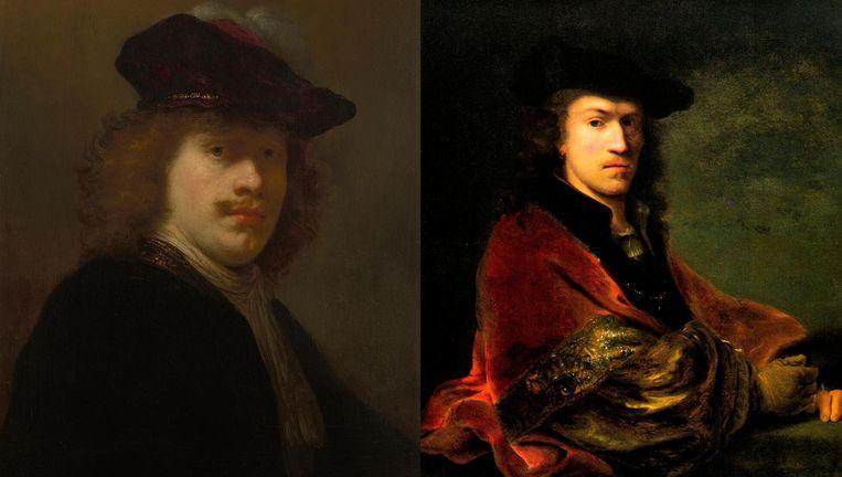Links: Govert Flinck, Zelfportret, ca. 1640. Paneel, 59 x 47 cm. Keulen, Wallraf-Richartz-Museum (bruikleen particuliere collectie). Rechts: Ferdinand Bol, Zelfportret, leunend op een balustrade, ca. 1647. Doek, 93 x 83,5 cm. (Particuliere collectie). Beeld Amsterdam Museum