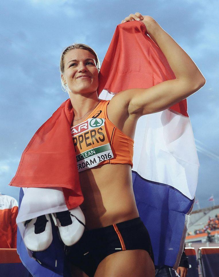 Dafne Schippers: goud op de 200 meter sprint. Beeld getty
