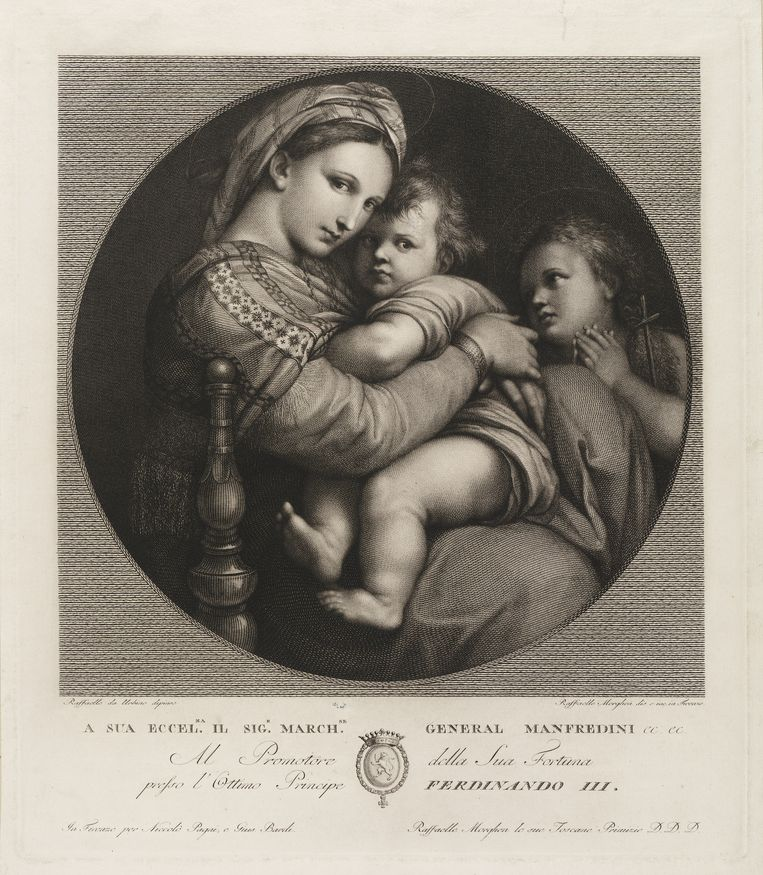 Raffaello Morghen (1758-1833), Maria met kind en Johannes de Doper. Prent naar een schilderij van Rafaël die in het Palazzo Pitti hangt.  Beeld Collectie Teylers Museum.