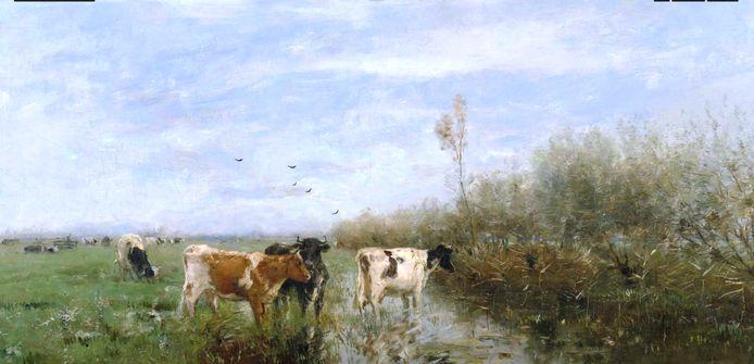 Een van de veertig schilderijen die naar Bergen op Zoom komen: Koeien in een drassig landschap van Willem Maris.
