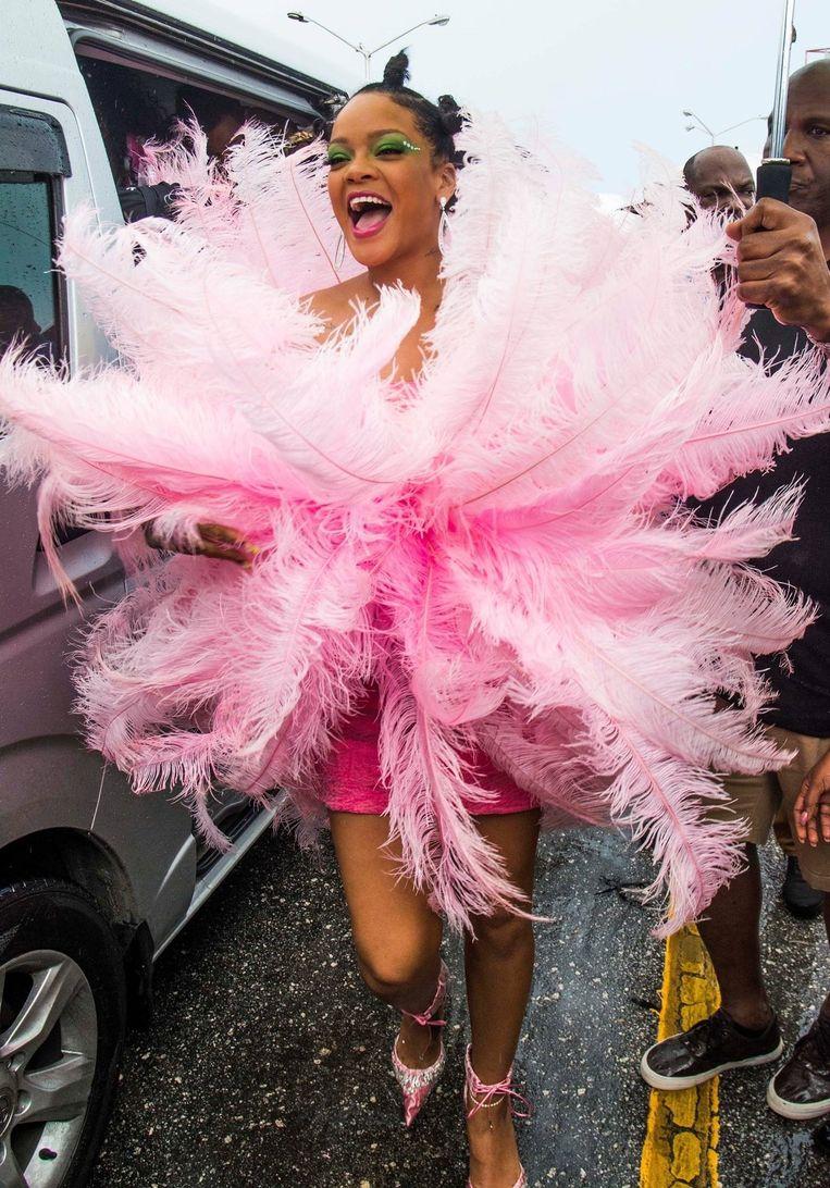 Rihanna in de jurk van David LaPort, afgelopen zomer. Beeld BSR Agency