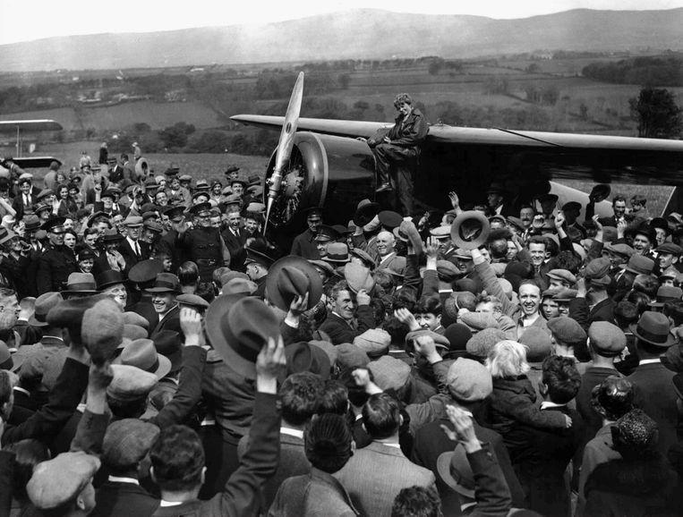 Earhart in 1932, toen ze in haar eentje de Atlantische Oceaan overvloog.