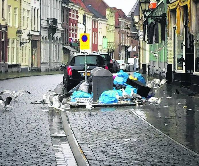 Dit is voor meeuwen een paradijs: vuilniszakken die naast de ondergrondse container staan. Foto Michel Bakker