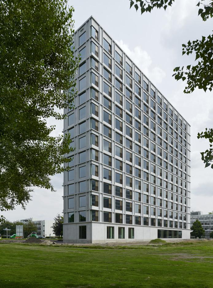 Studentencomplex Aurora van Woonbedrijf/Vestide op de TU/e Campus Eindhoven. Architecten Office Winhov Amsterdam, Offic Haratori Zürich ism BDG Architecten Almere. Foto Stefan Müller
