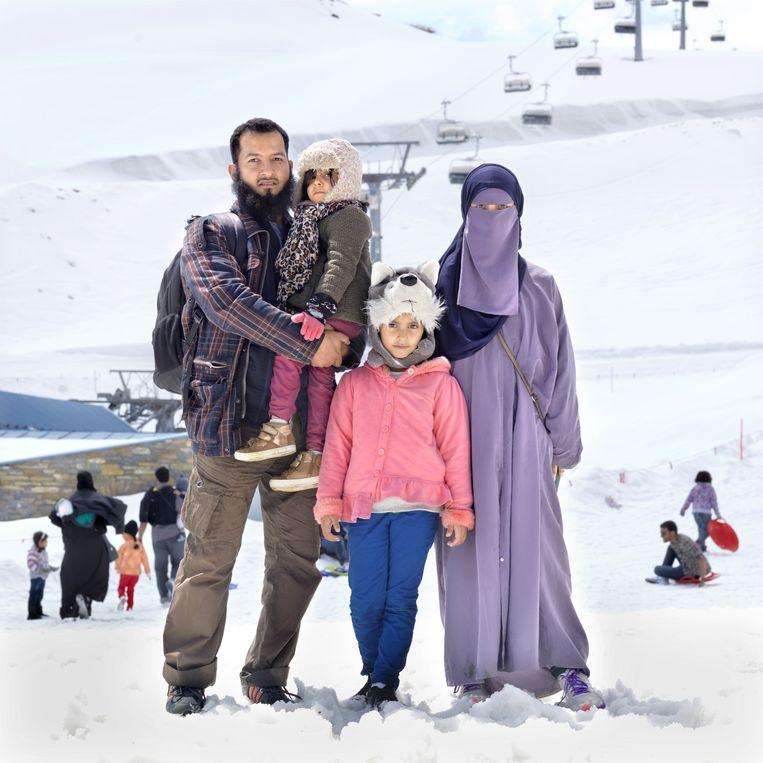 Arabische toeristen zijn blij om de kou te ervaren terwijl het in hun land rond deze tijd wel 50 graden Celsius kan worden.