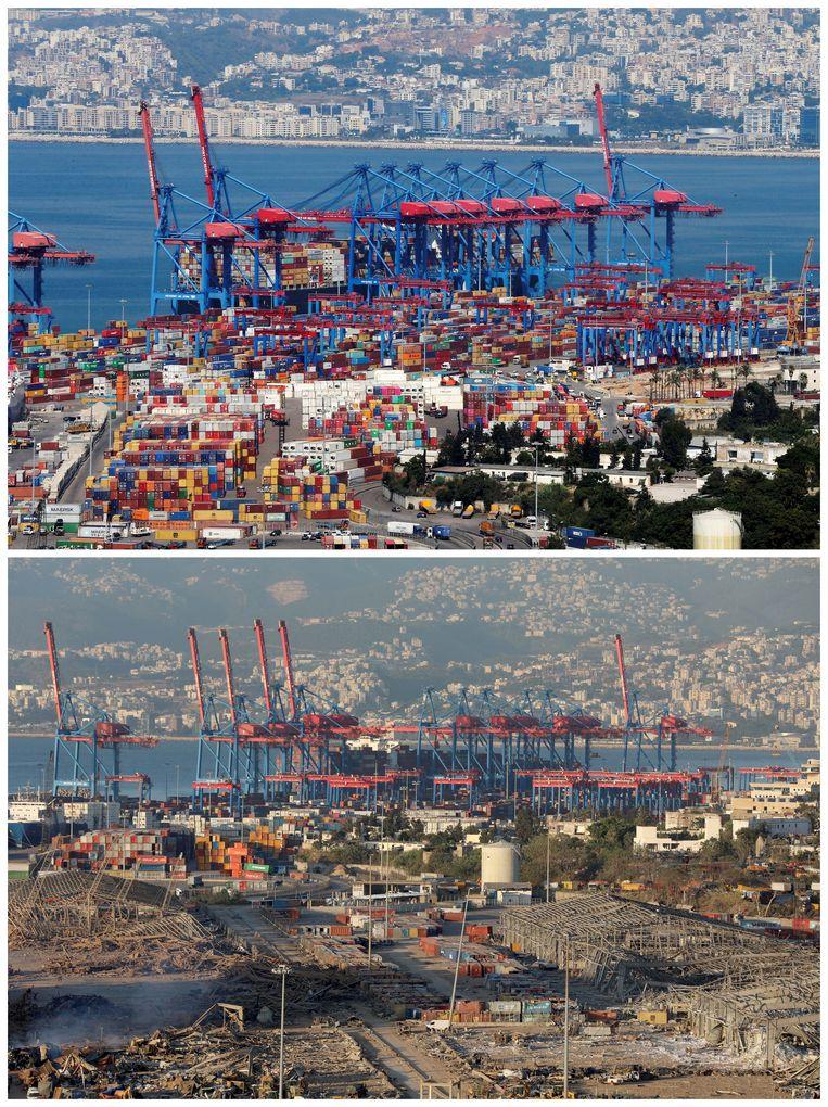 De bovenste foto toont de haven van Beiroet in augustus 2019. De onderste is genomen na de explosie.