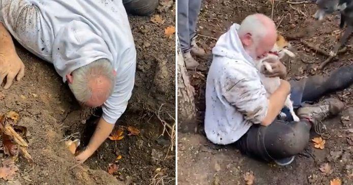 Après l'avoir sortie de son trou, Alan a pris sa chienne dans les bras et s'est effondré en pleurant de joie. Des gens qui étaient venus lui prêter main forte ont filmé la scène face à laquelle il est bien difficile de retenir ses larmes.