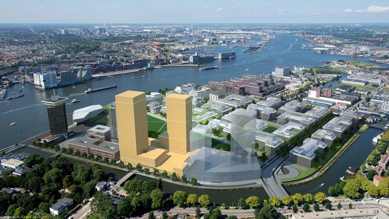 Impressie van het Maritim-congreshotel in Noord (toren links) en de appartemententoren. Aan het definitieve ontwerp van het megacomplex wordt het komend ehalfjaar getekend. Helemaal links de Shelltoren, die momenteel wordt vebrouwd. Beeld IES